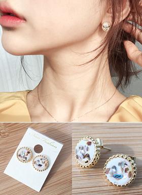 母珍珠耳环(黑/白色)