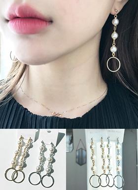 珍珠环耳环(银色/金)
